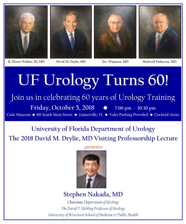 Save the Date  |  UF Urology Visiting Professor/UroGators Alumni Weekend & 60th Anniversary of Urology at UF October 5 – 6, 2018